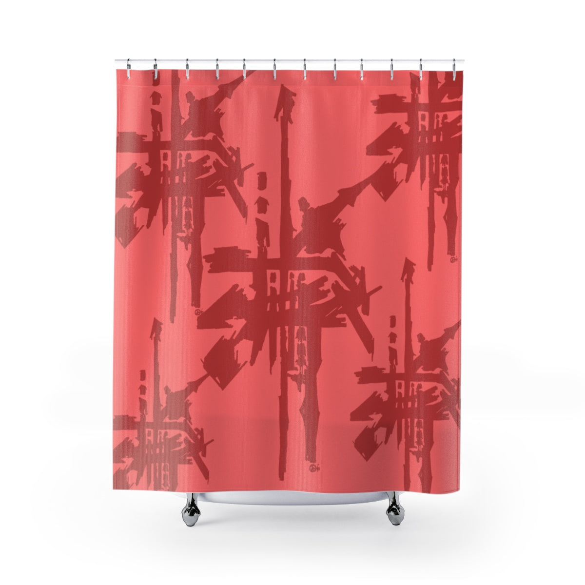 Criss Cross Sushi Shower Curtain Maroon on Salmon
