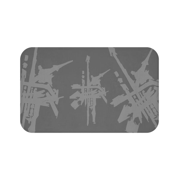 Criss Cross Sushi Bath Mat Grey on Dark Grey