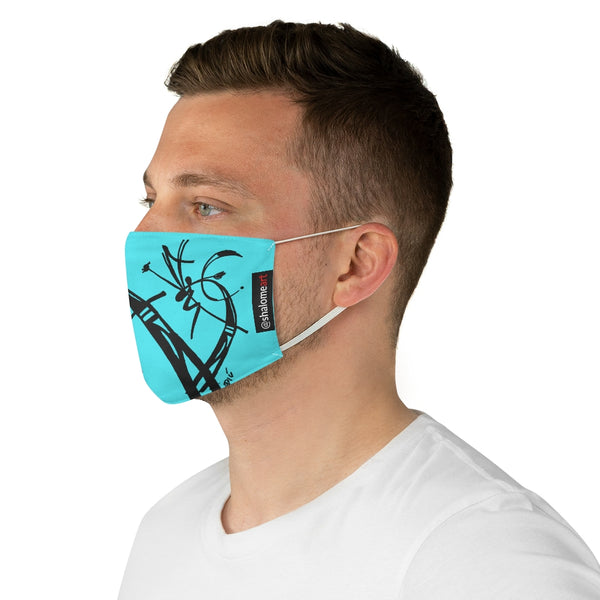 Face Mask: a prime posy black on teal