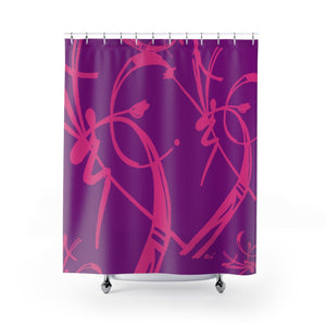 A Prime Posey Shower Curtain Magenta on Plum