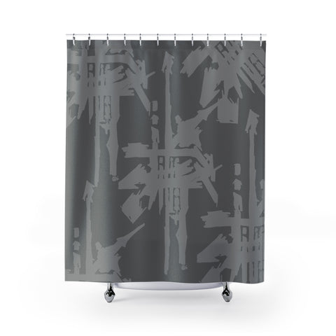 Criss Cross Sushi Shower Curtain Grey on Dark Grey