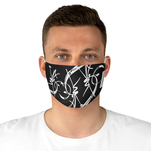 Face Mask: a prime posy white on black