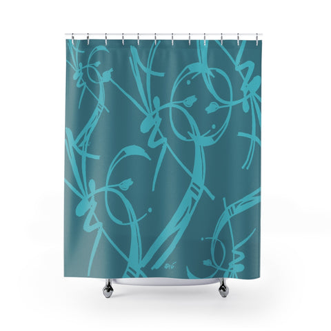 A Prime Posey Shower Curtain Teal on Teal