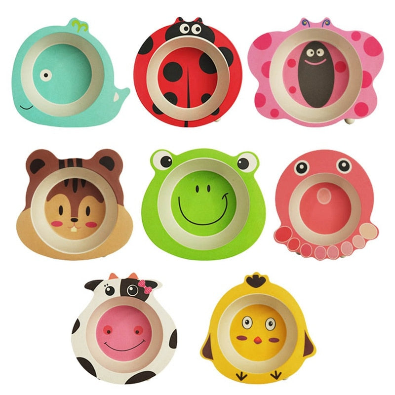 Natural Bamboo Fiber Bowls Cute Cartoon Animal - allyourkidneed