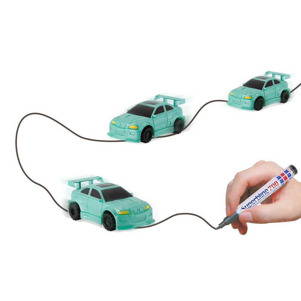 GOLD LIGHT Magic Mini Racer Car Follow Black Drawn Line - allyourkidneed