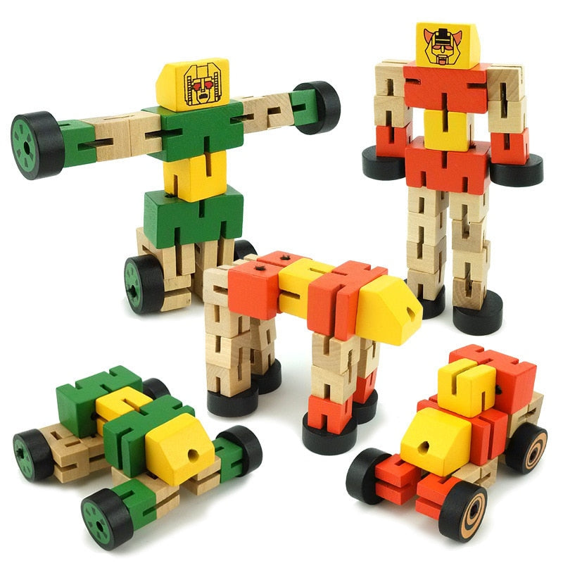 Wooden Transformation Robot Building - allyourkidneed