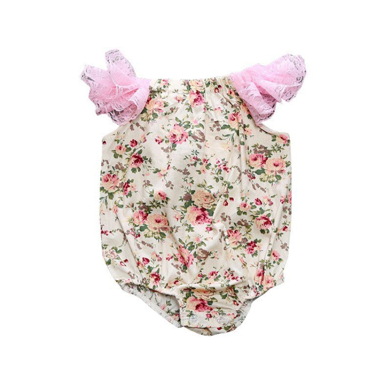 Newborn Baby Girl Bodysuits Lace Flowers - allyourkidneed