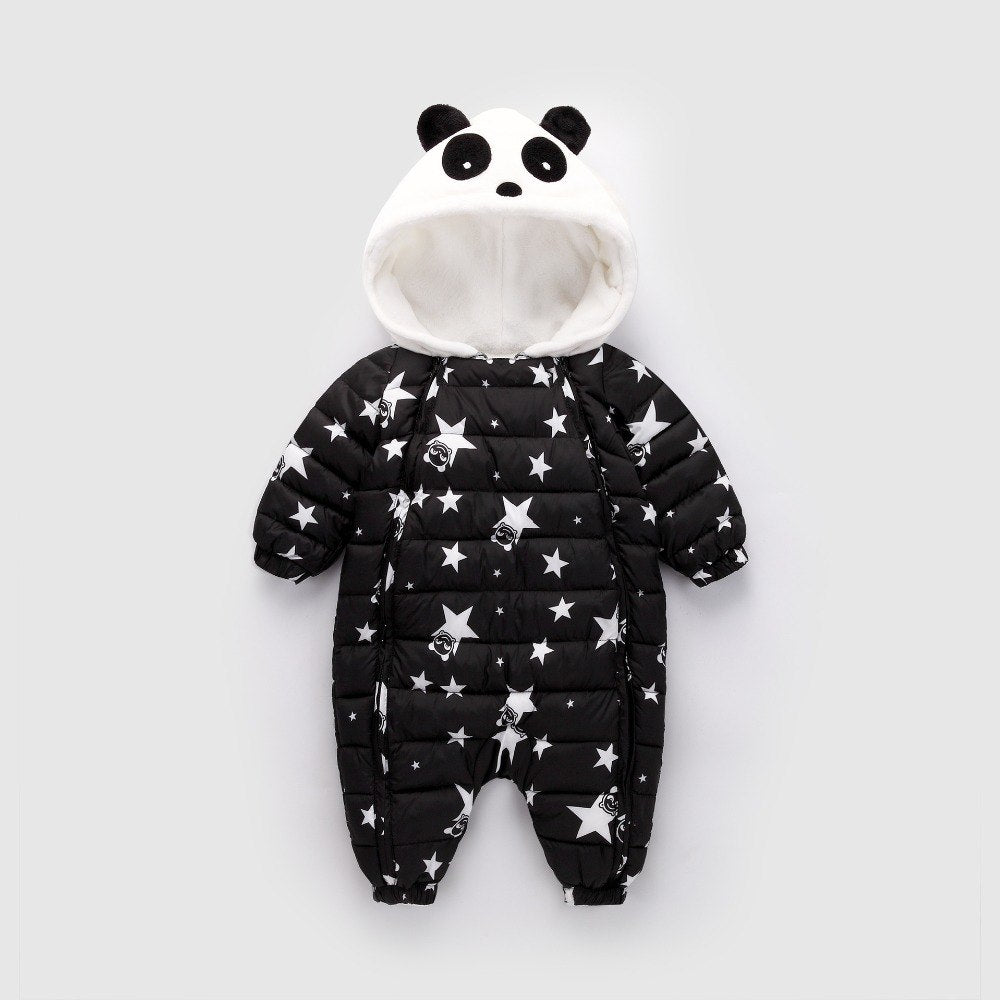 55d935702fe3 BibiCola Baby Rompers Winter Baby Jumpsuit Clothes Newborn Girl Boy Duck  Down Warm Cartoon Panda Snowsuit