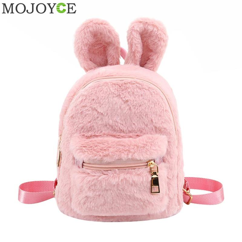 Girls Faux Fur Mini Rabbit Ears Backpacks - allyourkidneed