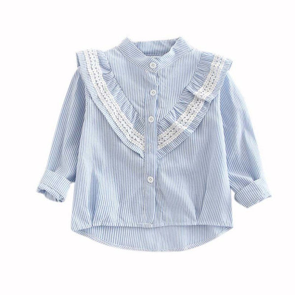 Girls Round Collar Shirt Casual - allyourkidneed