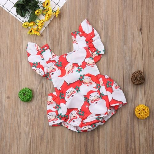 Newborn Kids Baby Girls Christmas Ruffle Sleeve Floral - allyourkidneed