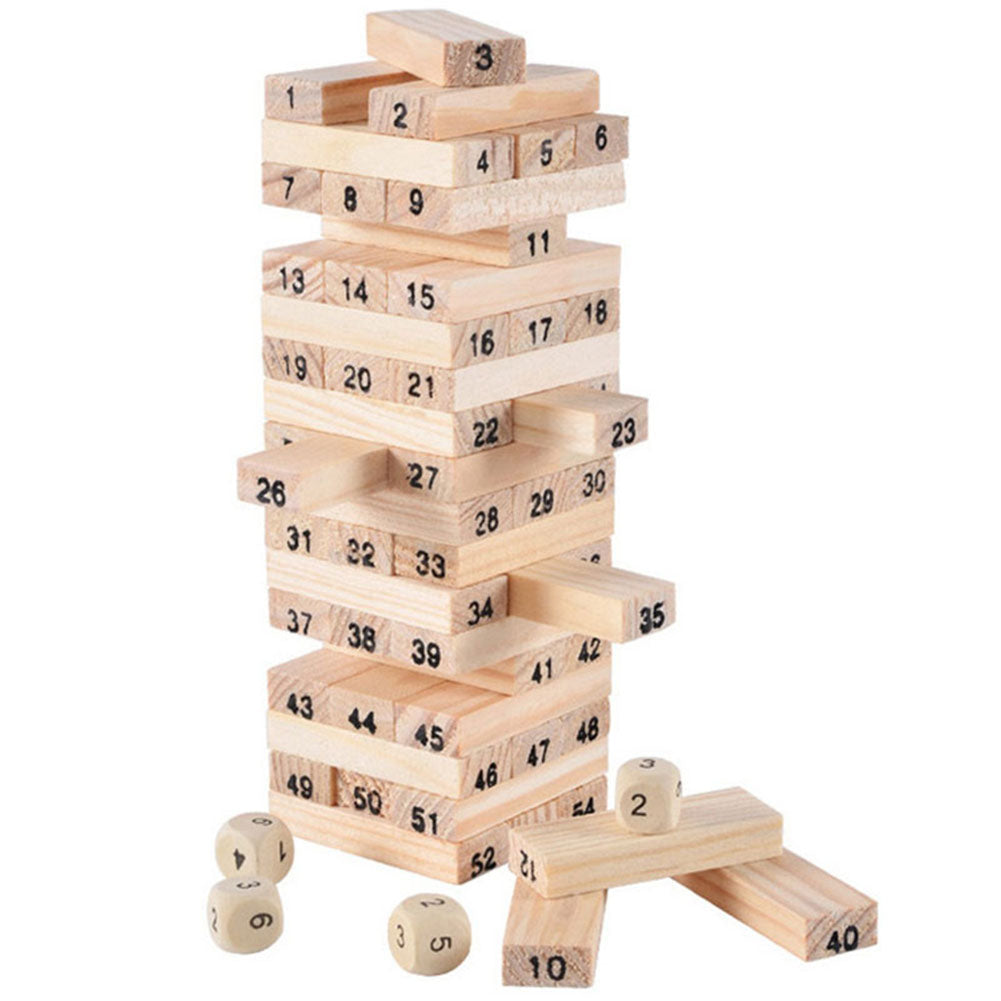 54 Pcs Wooden Tower Building Blocks - allyourkidneed