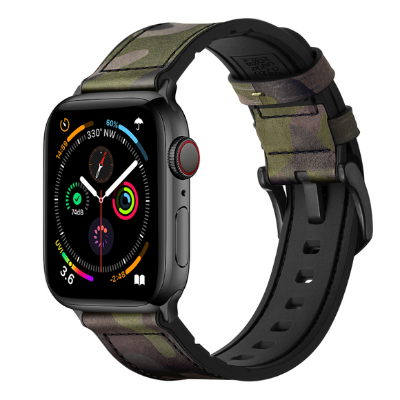 Hybrid Sports Leather Apple Watch Band - Camouflage