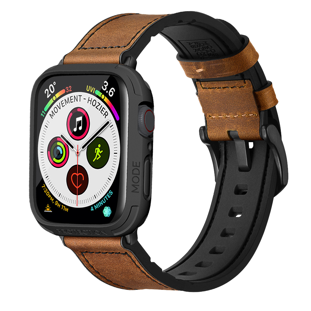 Hybrid Sports Leather band with Bumper Case made for Apple Watch 6 SE 5 4 44mm