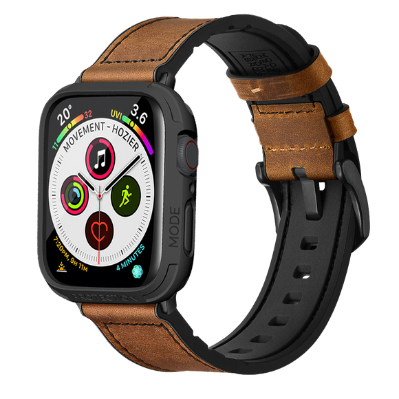 Apple Watch 4 5 44mm Hybrid Sports Leather band with Bumper Case