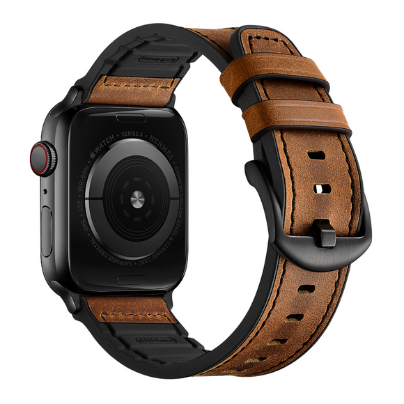 [Upgraded] Hybrid Sports Leather Apple Watch Band 44mm 42mm for Series 5 4 3 2 1- Brown