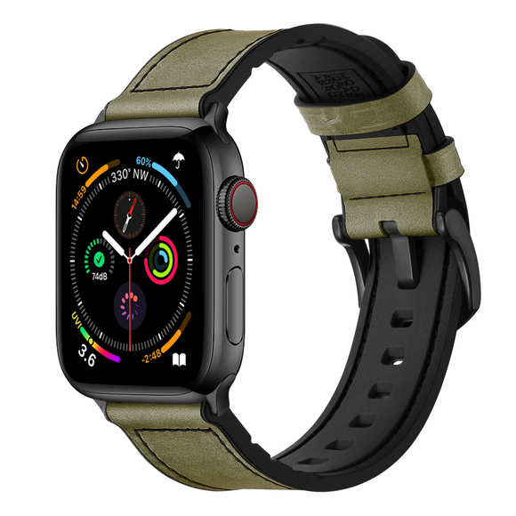 Hybrid Sports Leather band for Apple Watch - Military Green