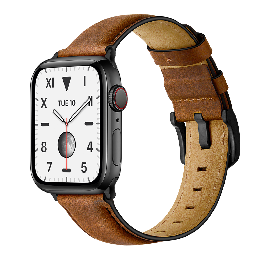 [New] Modern Classic Full Leather Apple Watch Band - Brown