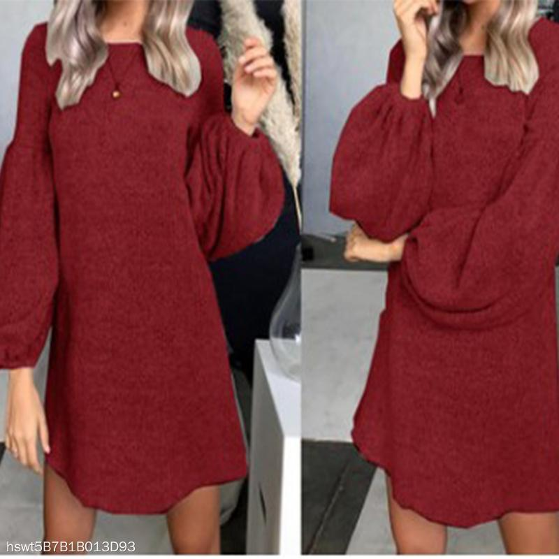 Fashion long sleeves Knit DressClaret Red / s