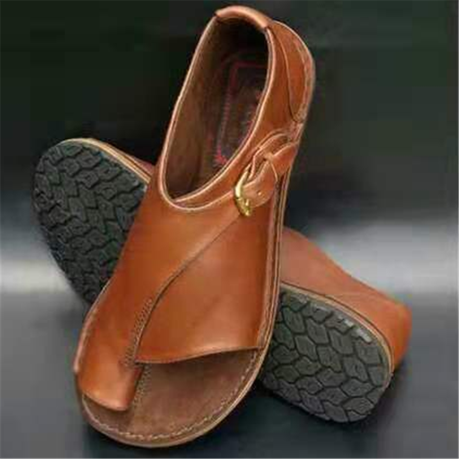 Fashion Solid   Color Toe Flat SandalsBrown / 41