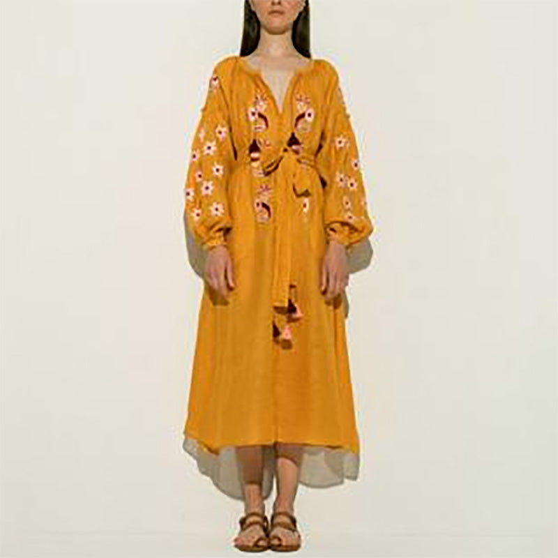 Sweet V Neck Belted Long Sleeve Inwrought Dressyellow / l