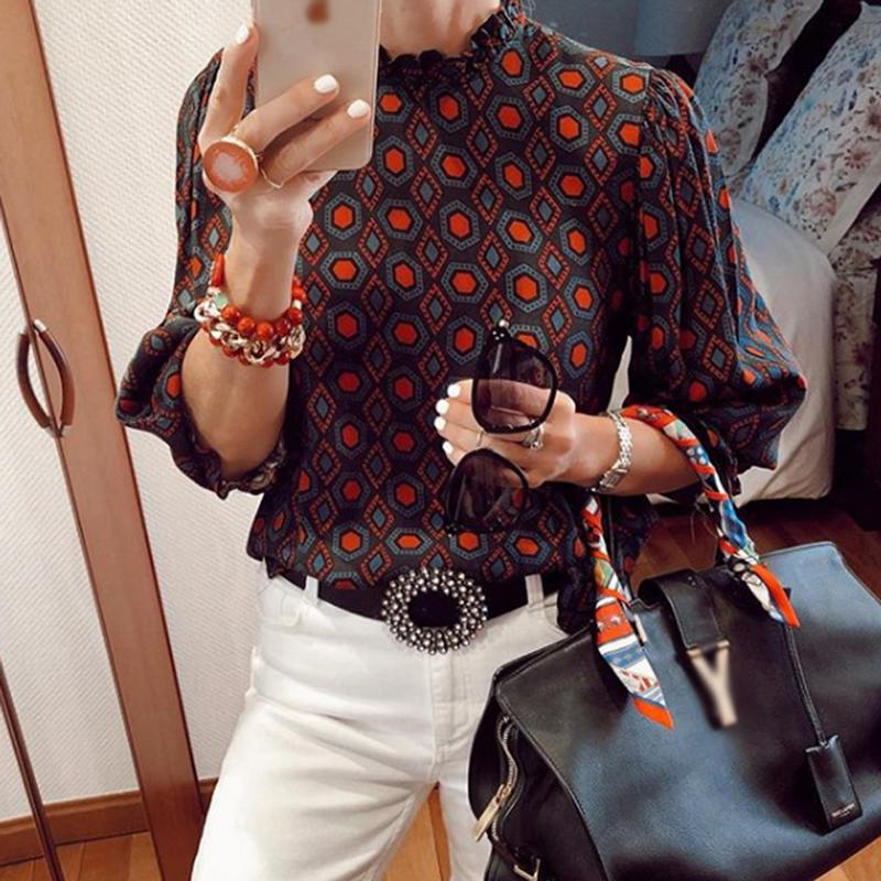 Commuting High Collar Printed Colour Elastic BlouseRed / s