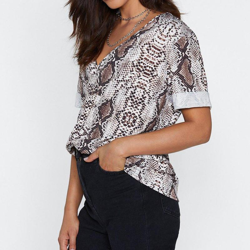 V-Neck Short-Sleeved Snake Print Top