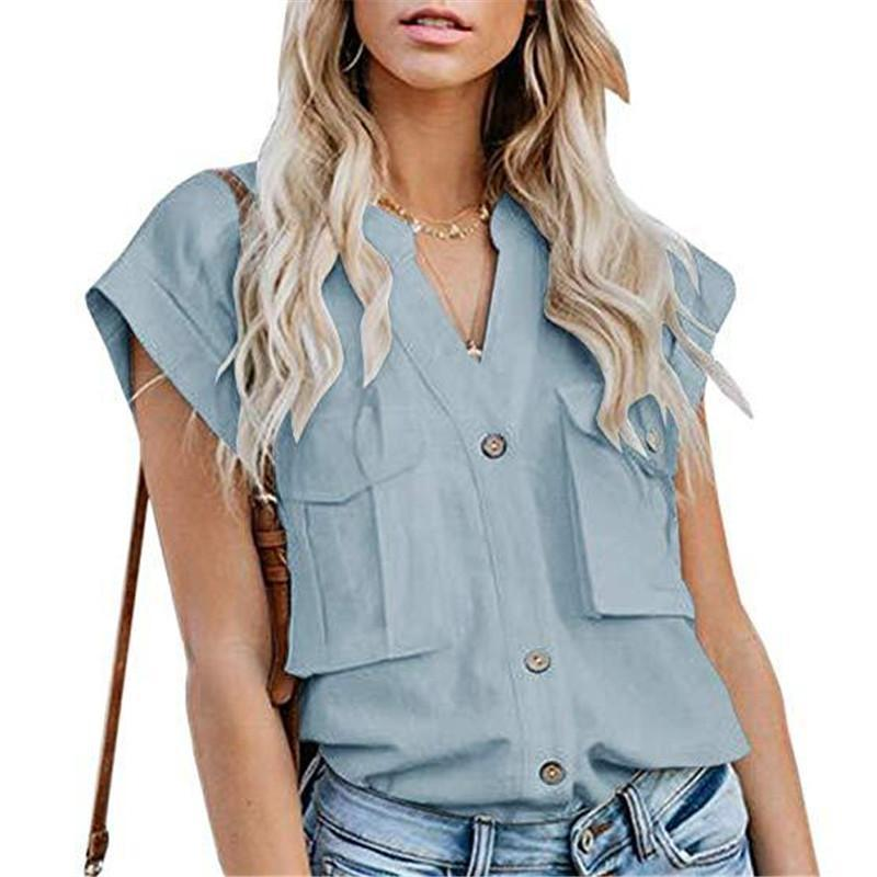 Women's Solid Color Lapel Single-Breasted Multi-Pocket Stitching ShirtsBlue / S