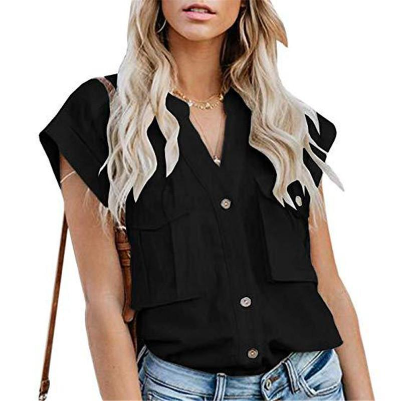 Women's Solid Color Lapel Single-Breasted Multi-Pocket Stitching ShirtsBlack / S