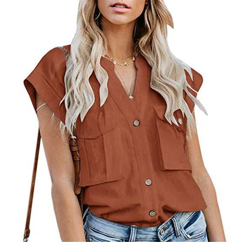 Women's Solid Color Lapel Single-Breasted Multi-Pocket Stitching ShirtsBrick Red / XL