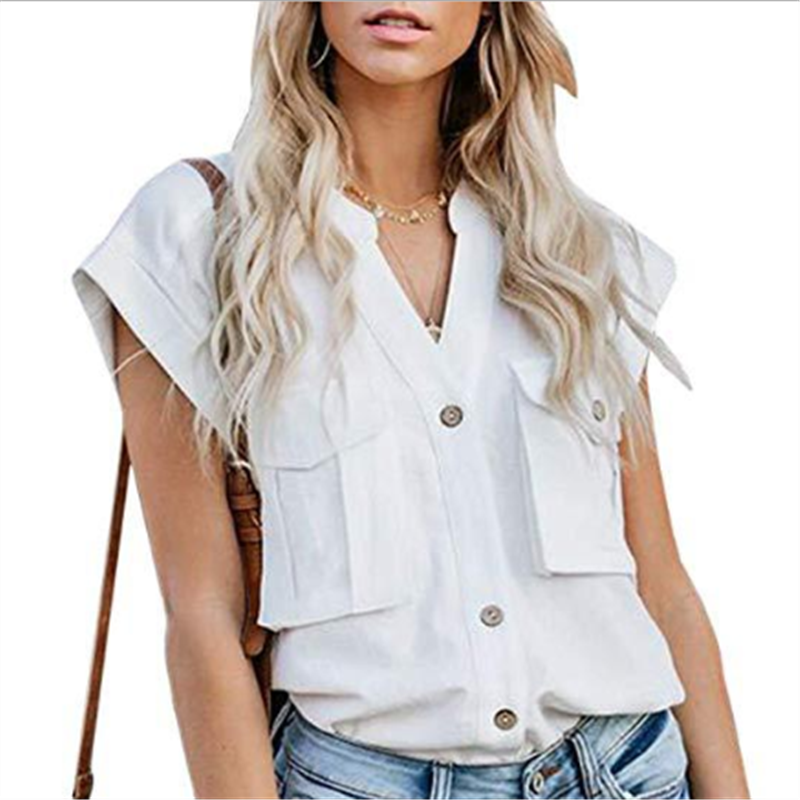 Women's Solid Color Lapel Single-Breasted Multi-Pocket Stitching ShirtsWhite / S