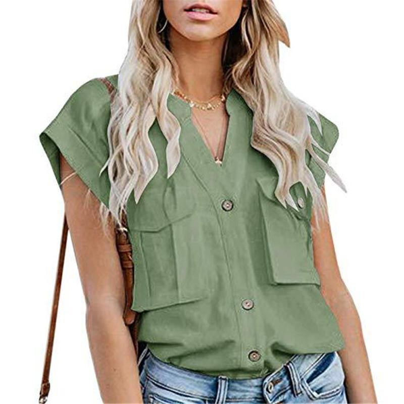 Women's Solid Color Lapel Single-Breasted Multi-Pocket Stitching ShirtsGreen / M