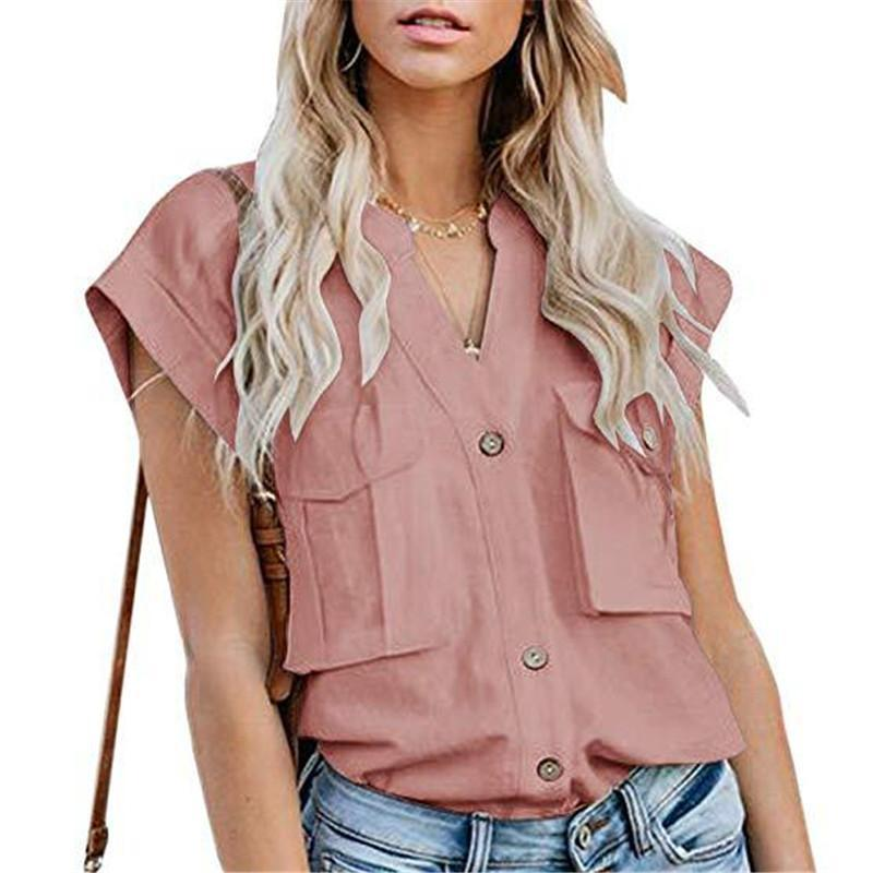 Women's Solid Color Lapel Single-Breasted Multi-Pocket Stitching ShirtsPink / S