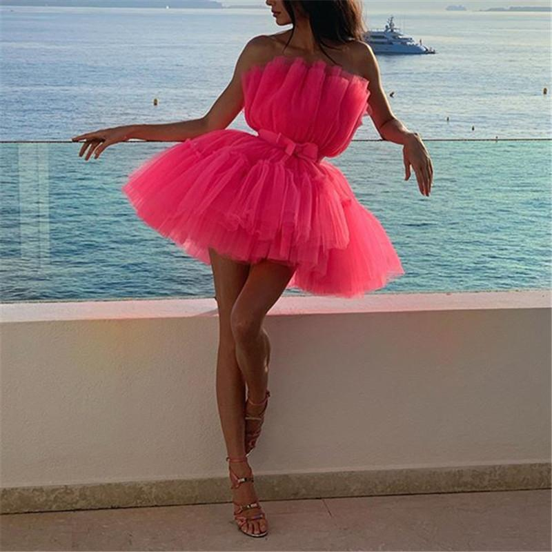 Women's Sexy Wrapped Trumpet Tulle sleeveless DressesPink / s