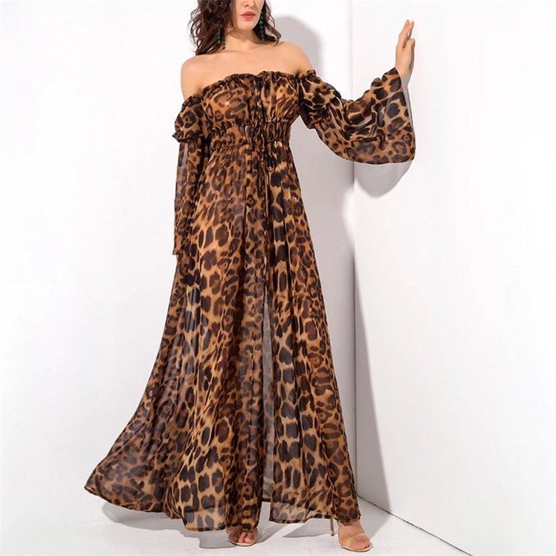 Sexy V-Neck long sleeves Waist Leopard Slit Dress