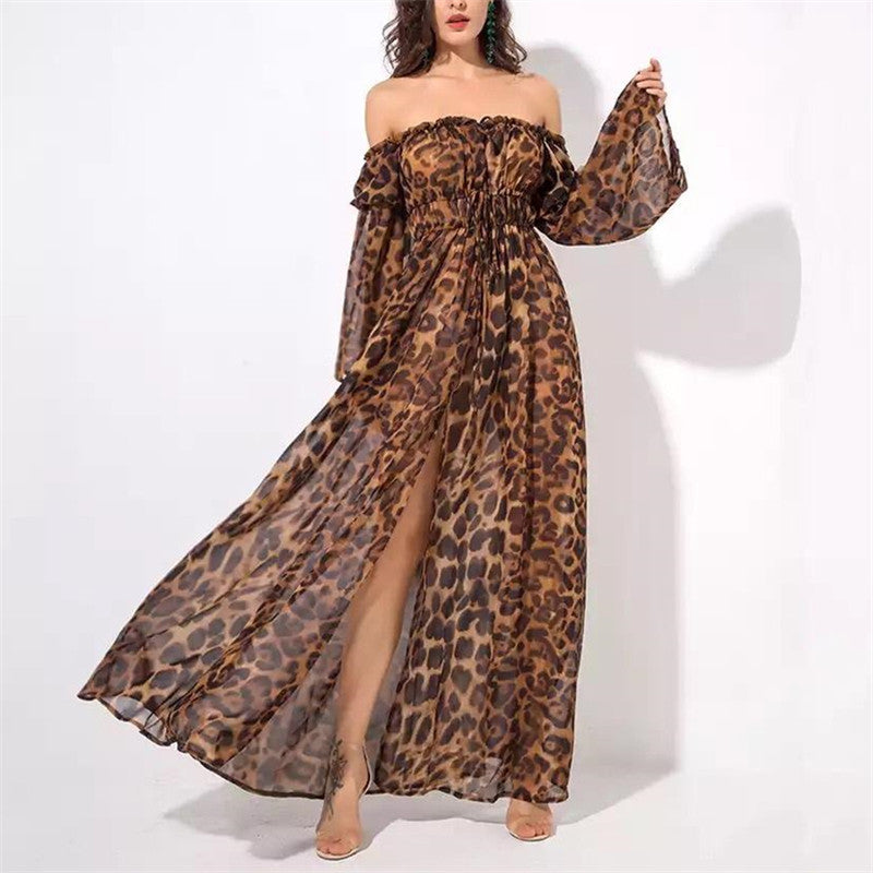 Sexy V-Neck long sleeves Waist Leopard Slit Dressleopard_print / 2xl