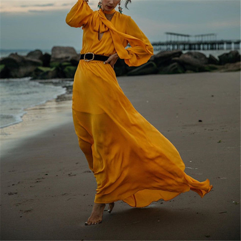 Women's Solid Color Long Sleeved Deep V-Neck Strap Maxi Dressyellow / s