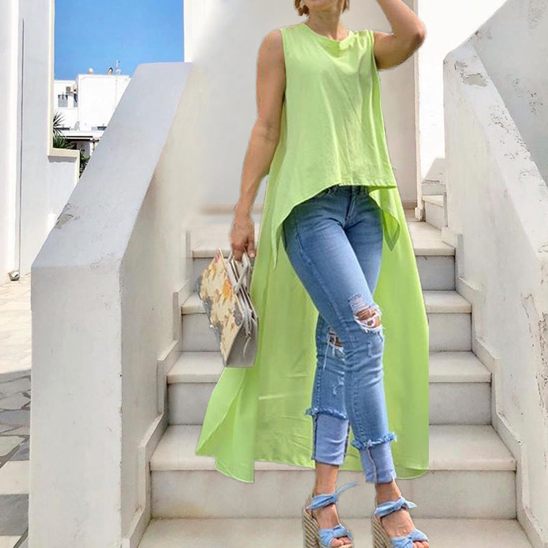 Women's Round Neck Sleeveless Solid Color Tfluorescent_green / m