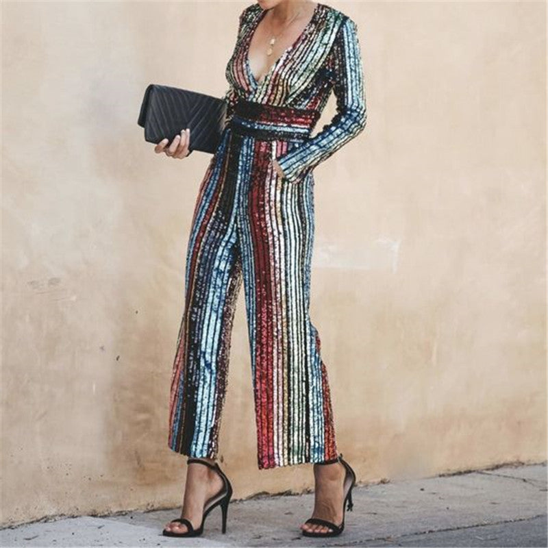 Fashion Sequins Color Long Sleeve JumpsuitSame As Photo / s