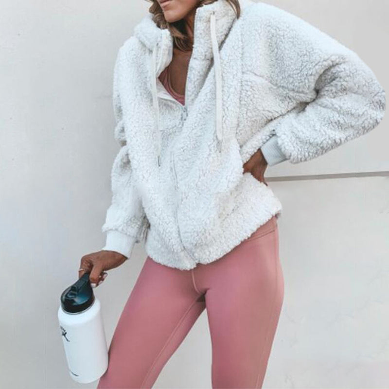 Casual Fluffy Hat Collar Zip-Up Long Sleeve Hoodie Coatwhite / s