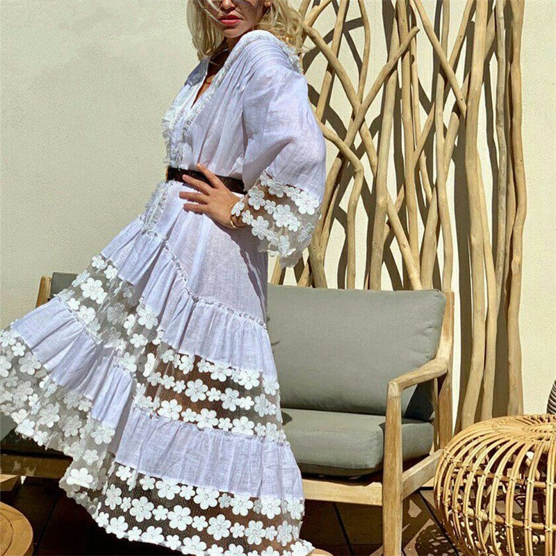 Vacation Beach Lace Splicing V-Neck Flared long sleeves Dresswhite / s