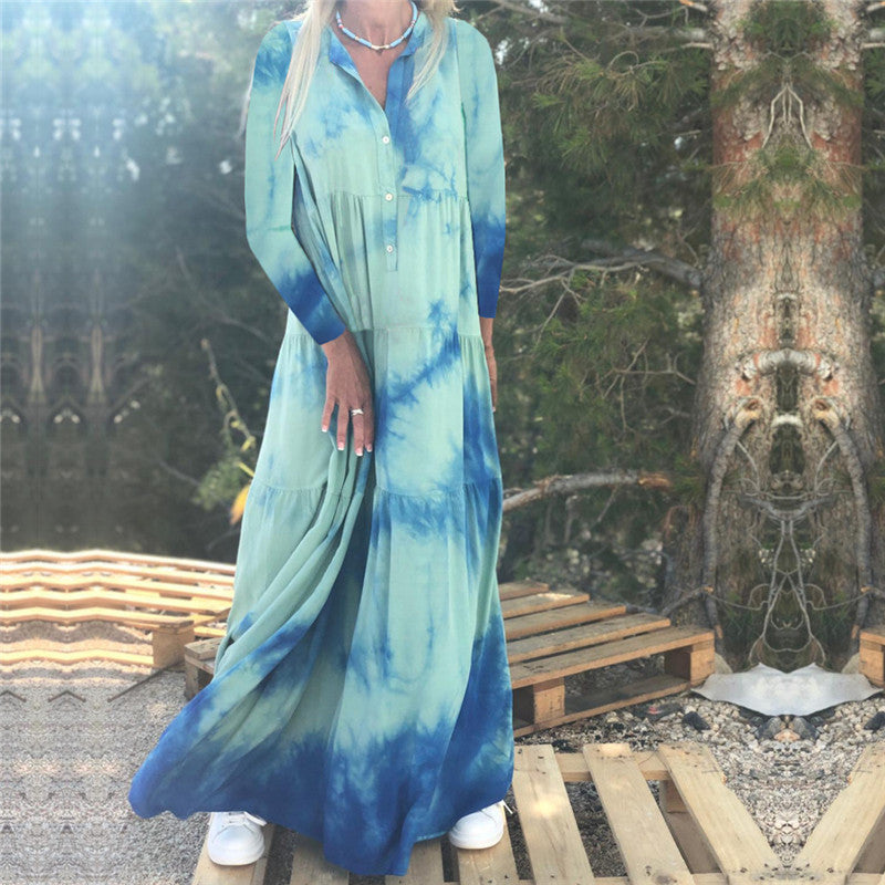 Casual Loose Tie-Dyed Long Sleeve Maxi Dresslight_blue / s