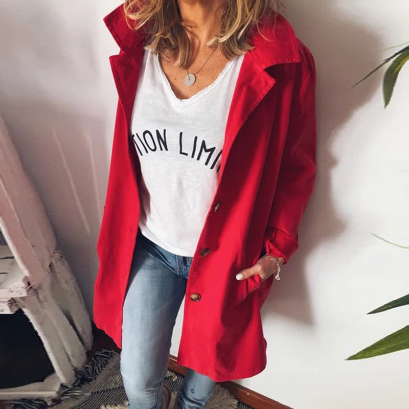 Fashion Casual Lapel Single Breasted Long Coatred / s