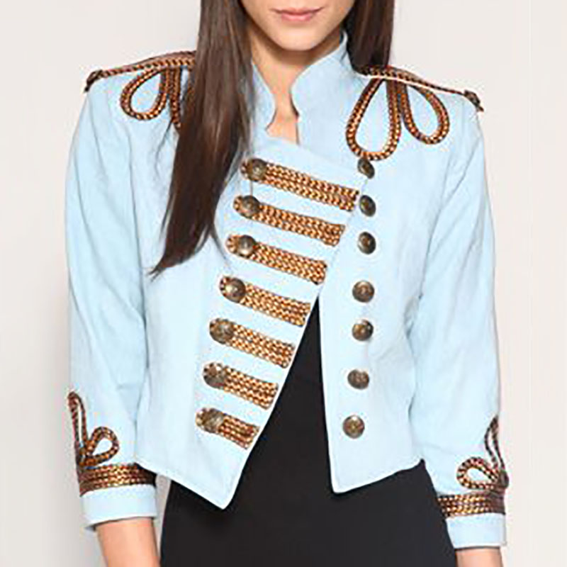 Fashion Stand Collar Double-Breasted Short Jacketblue / s
