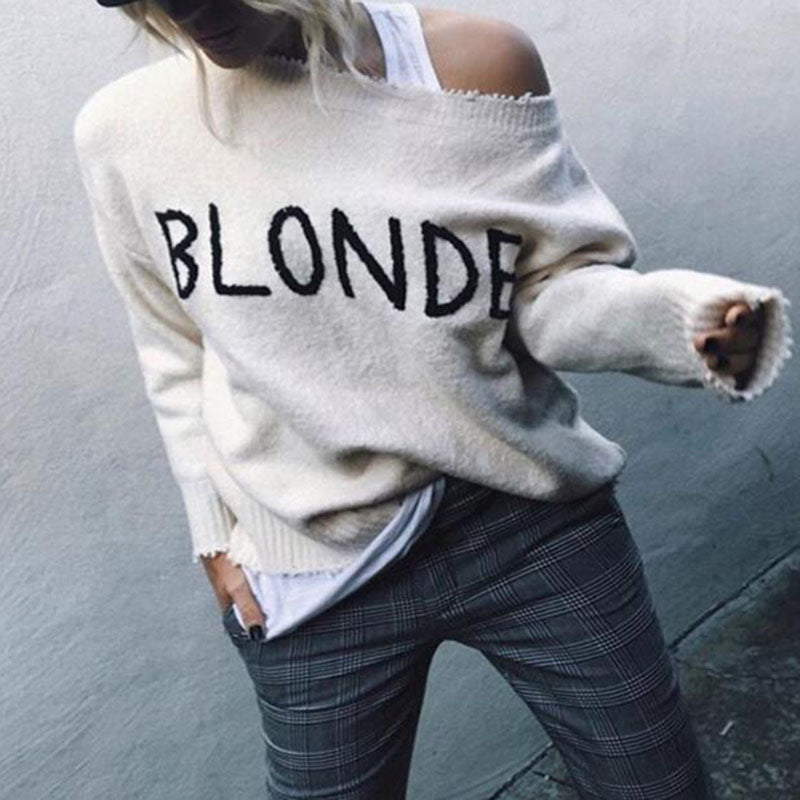 Fashion Single Off Shoulder Collar Solid Color Letter Sweatergray / m