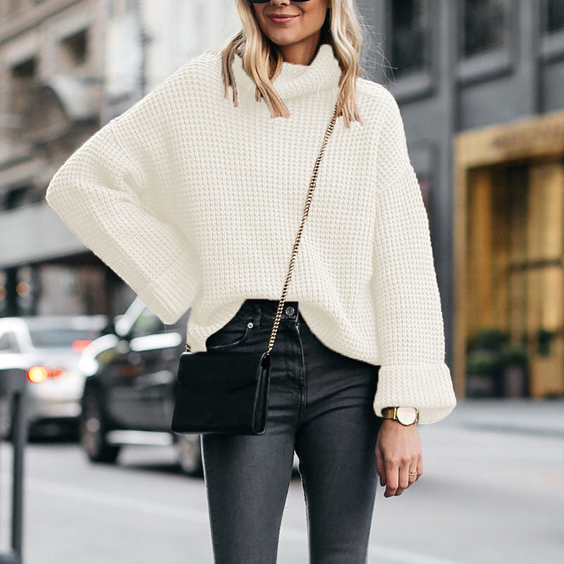 Commuting High Collar Long Sleeves Pure Colour Sweaterwhite / s