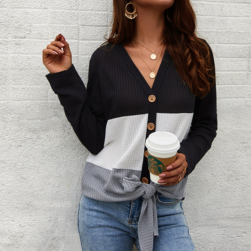Fashion Casual Coloring Single Breasted Knit Topblack / s