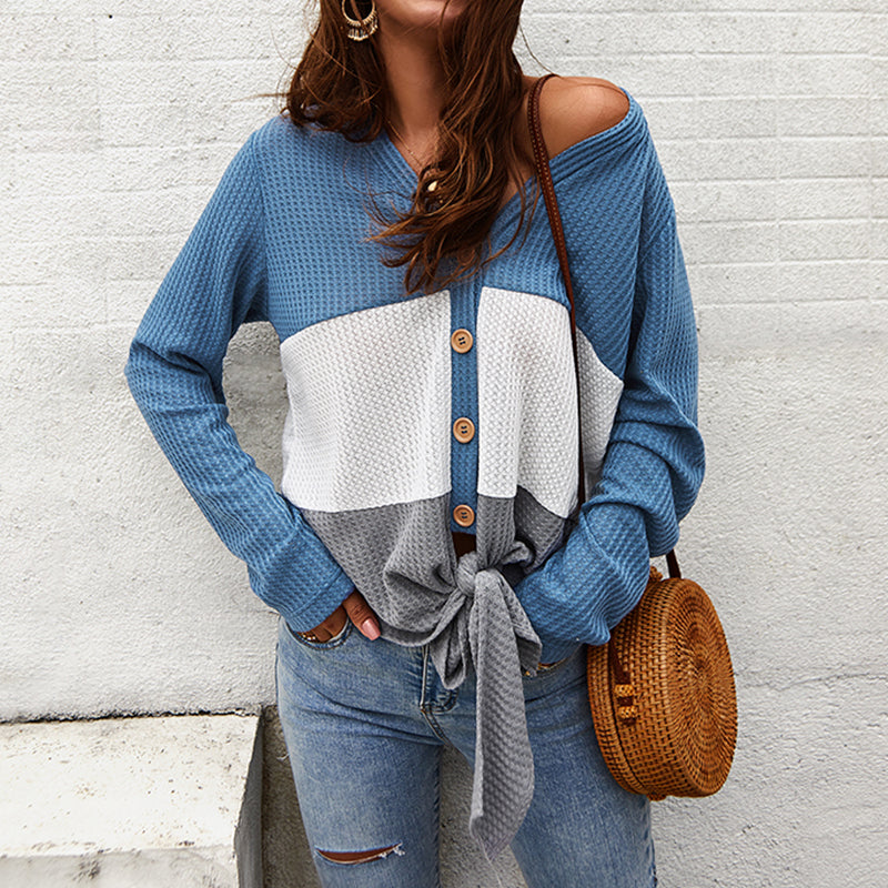 Fashion Casual Coloring Single Breasted Knit Topblue / s