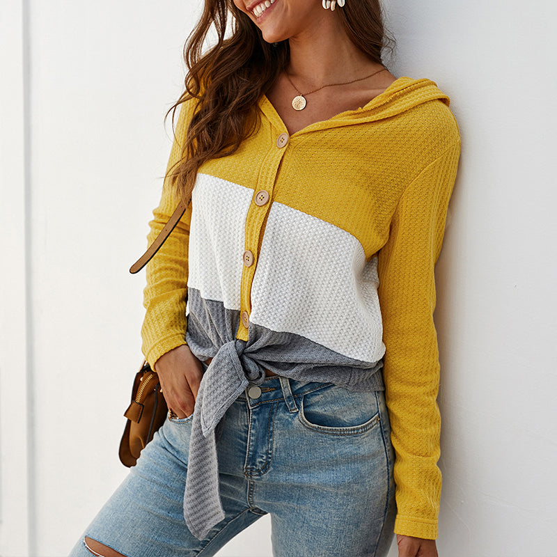 Fashion Casual Coloring Single Breasted Knit Topyellow / s