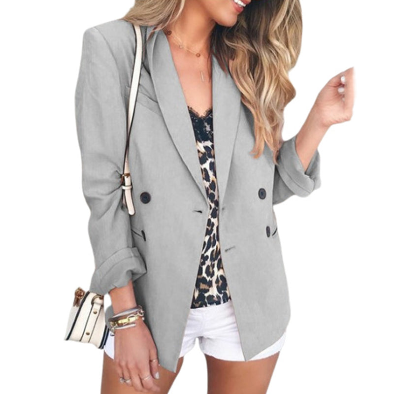Fashion solid color button ladies small suitgray / S